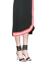 Lace cuff suede sandals