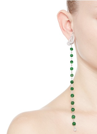 Figure View - Click To Enlarge - Samuel Kung - Jade bead diamond drop asymmetric earring