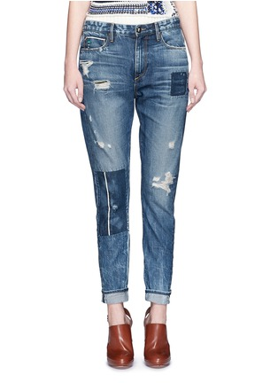 Detail View - Click To Enlarge - Tortoise - Patchwork straight leg selvedge jeans