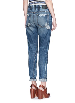 Back View - Click To Enlarge - Tortoise - Patchwork straight leg selvedge jeans