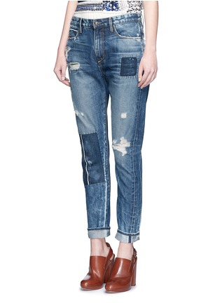 Front View - Click To Enlarge - Tortoise - Patchwork straight leg selvedge jeans