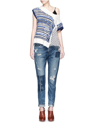 Figure View - Click To Enlarge - Tortoise - Patchwork straight leg selvedge jeans
