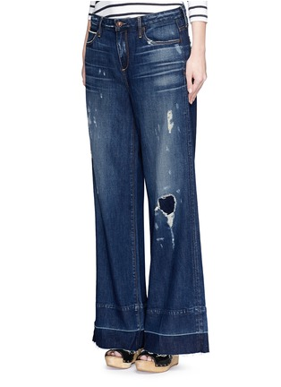 Front View - Click To Enlarge - Tortoise - 'Clemmy's' shadow hem wide leg jeans