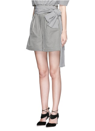 Front View - Click To Enlarge - ISA ARFEN - Wrap belt gingham print shorts
