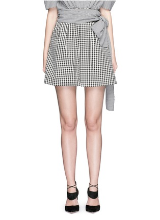 Main View - Click To Enlarge - ISA ARFEN - Wrap belt gingham print shorts