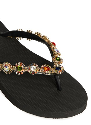 Detail View - Click To Enlarge - Uzurii - 'Diana' crystal flower flip flops