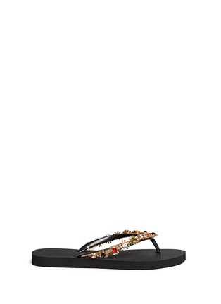 Main View - Click To Enlarge - Uzurii - 'Diana' crystal flower flip flops