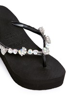 'Jenny' crystal wedge flip flops