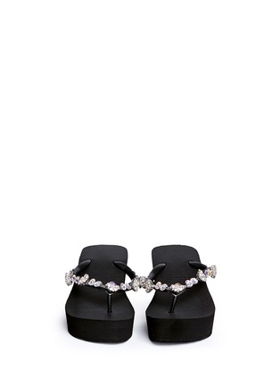 Figure View - Click To Enlarge - Uzurii - 'Jenny' crystal wedge flip flops