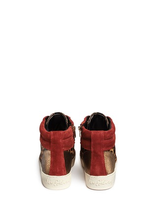 Back View - Click To Enlarge - Sam Edelman - 'Britt' leopard calf hair leather combo sneakers
