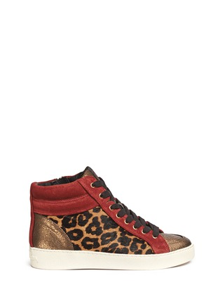 Main View - Click To Enlarge - Sam Edelman - 'Britt' leopard calf hair leather combo sneakers