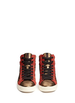 Figure View - Click To Enlarge - Sam Edelman - 'Britt' leopard calf hair leather combo sneakers