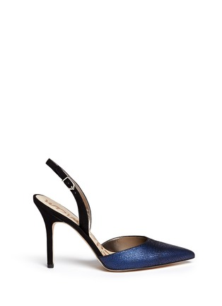 Main View - Click To Enlarge - Sam Edelman - 'Dora' crackled metallic leather slingback pumps