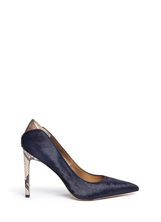 Main View - Click To Enlarge - Sam Edelman - 'Dea' python embossed heel calf hair pumps
