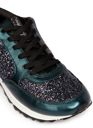 Detail View - Click To Enlarge - Sam Edelman - 'Des' metallic leather trim glitter sneakers