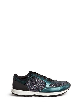 Main View - Click To Enlarge - Sam Edelman - 'Des' metallic leather trim glitter sneakers