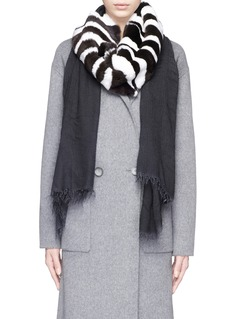 CUTULI CULT'Brinzo' rabbit fur panel modal-cashmere scarf