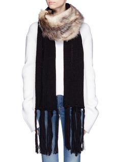 CUTULI CULT'Dada' possum fur panel wool scarf