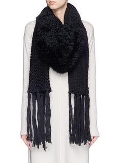 CUTULI CULT'Enope' lamb fur panel wool scarf