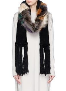 CUTULI CULT'Erimato' raccoon fur panel wool scarf