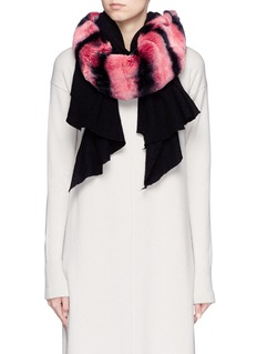 CUTULI CULT'Nesea' rabbit fur panel cashmere-silk scarf
