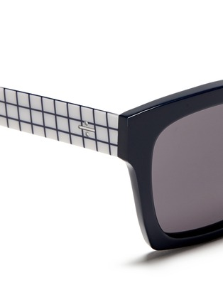Detail View - Click To Enlarge - BLANC & ECLARE - 'New York' check print temple acetate sunglasses