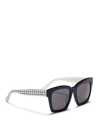 Figure View - Click To Enlarge - BLANC & ECLARE - 'New York' check print temple acetate sunglasses