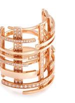 Diamond pavé 18k rose gold openwork lattice ring