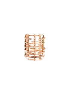 DauphinDiamond pavé 18k rose gold openwork lattice ring