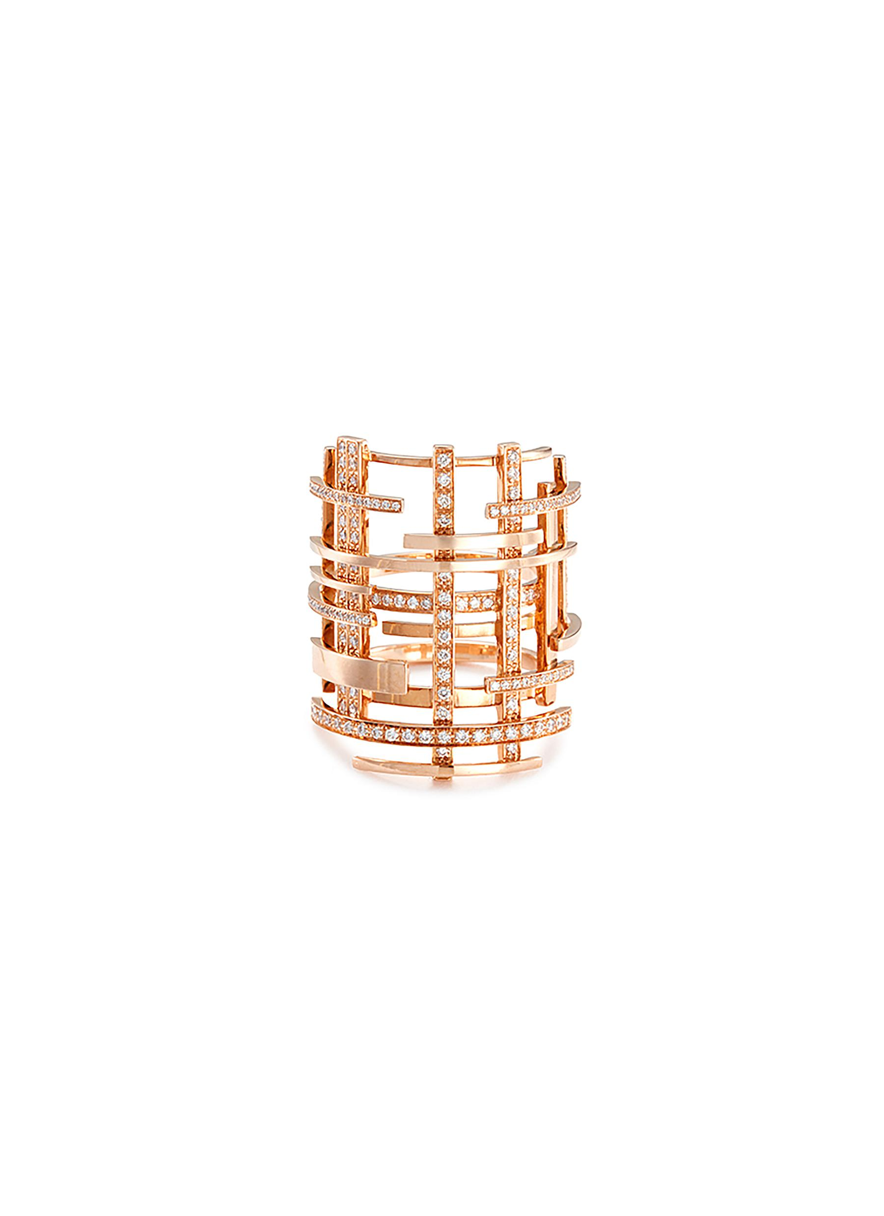 Diamond pavé 18k rose gold openwork lattice ring by Dauphin