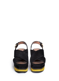 MARNISuede cutout wedge slingback sandals