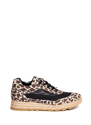 Main View - Click To Enlarge - Stella McCartney - Leopard print mesh espadrille sneakers