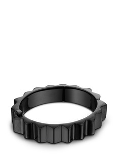 Lynn Ban'Thick Gear' black rhodium silver bangle