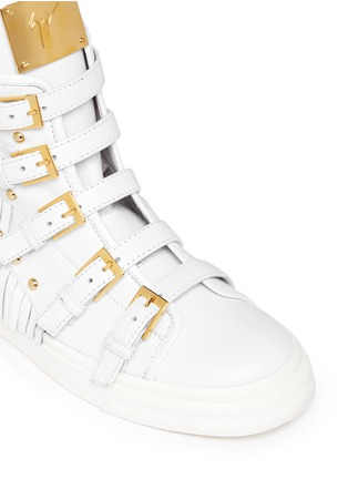 Detail View - Click To Enlarge - Giuseppe Zanotti Design - 'London' fringe stud leather sneakers
