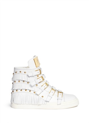 Main View - Click To Enlarge - Giuseppe Zanotti Design - 'London' fringe stud leather sneakers