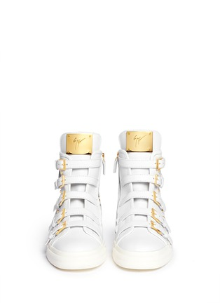 Figure View - Click To Enlarge - Giuseppe Zanotti Design - 'London' fringe stud leather sneakers