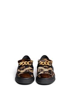 GIUSEPPE ZANOTTI DESIGN'London' leopard print calf hair fringe slip-ons