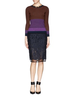 DIANE VON FURSTENBERG Colourblock basket weave wool sweater