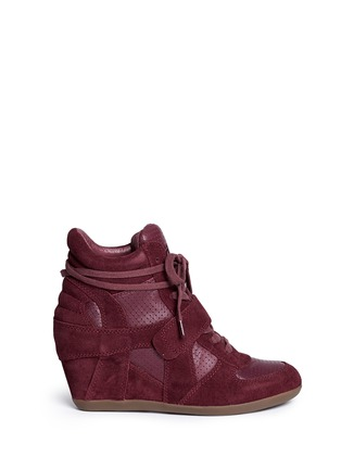 Main View - Click To Enlarge - Ash - 'Bowie' suede and calf leather wedge sneakers