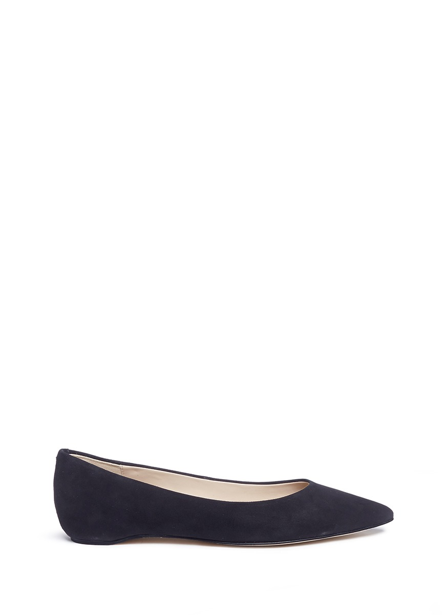 Pointed toe suede skimmer flats by Pedder Red