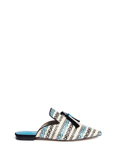 Pedder Red Tassel ethnic stripe woven slides