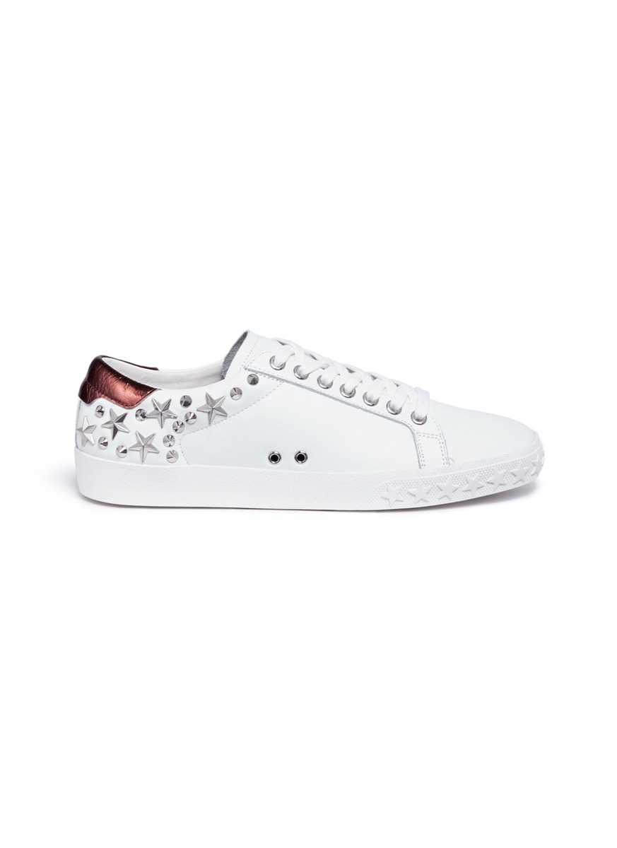 Dazed star stud calfskin leather sneakers by Ash