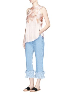Xu Zhi Braided fringe frayed one-shoulder top