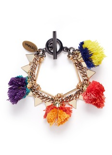 Venna Pompom mixed chain bracelet