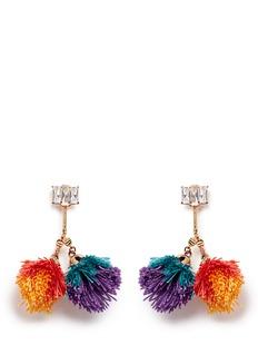 VennaDetachable pompom glass crystal drop earrings