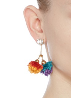 Venna Detachable pompom glass crystal drop earrings