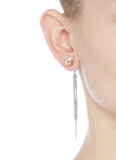 VennaGlass pearl tassel drop jacket earrings