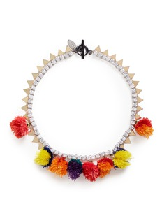 Venna Pompom glass crystal chain necklace