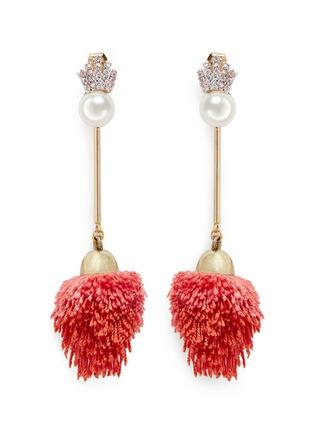 Venna-Detachable pearl stud pompom drop earrings