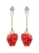 Detachable pearl stud pompom drop earrings